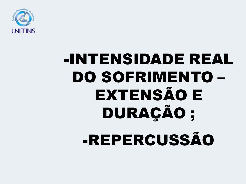 INTENSIDADE REAL DO SOFRIMENTO – EXTENSÃO E DURAÇÃO ;