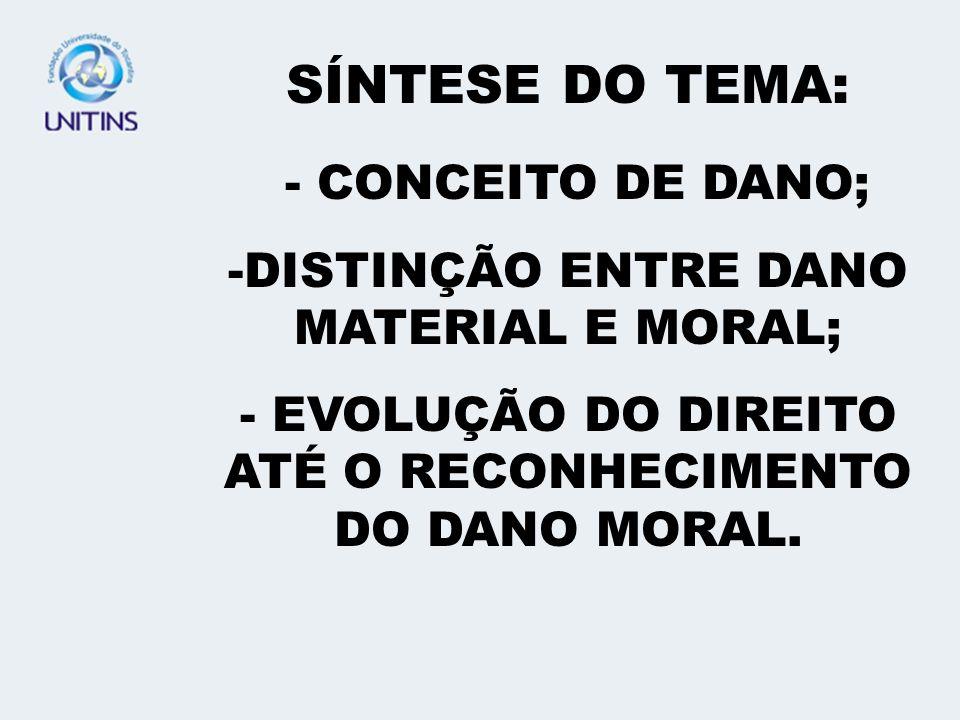 SÍNTESE DO TEMA: - CONCEITO DE DANO;