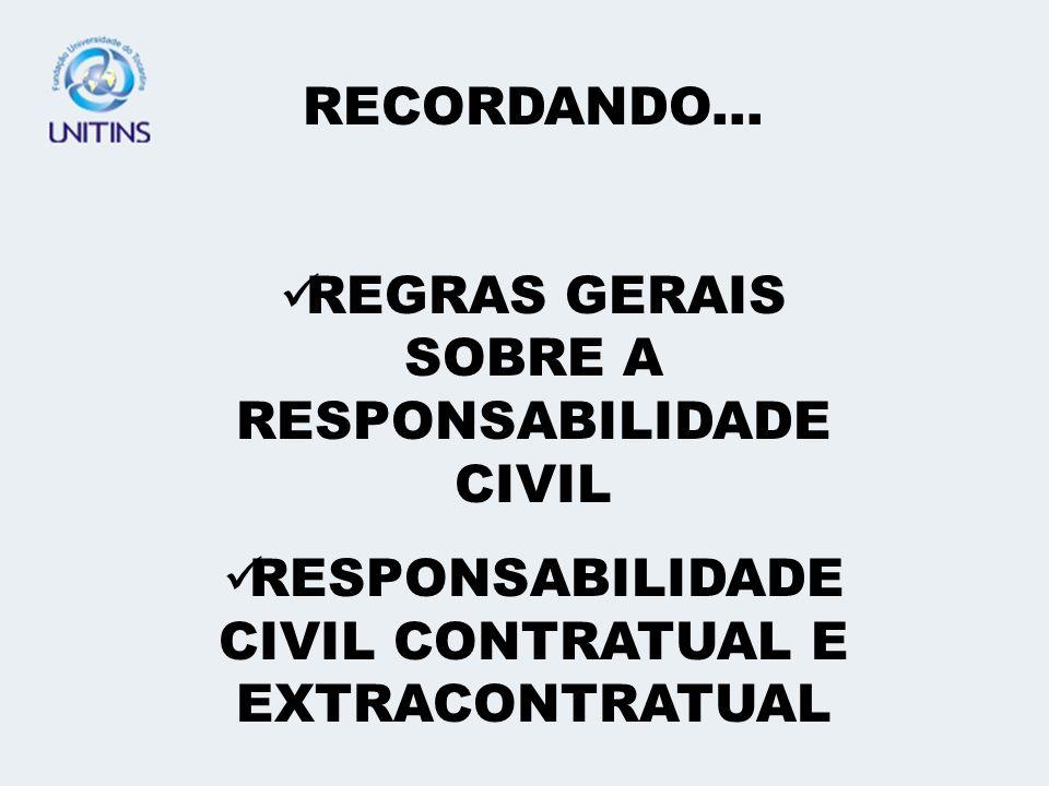 REGRAS GERAIS SOBRE A RESPONSABILIDADE CIVIL
