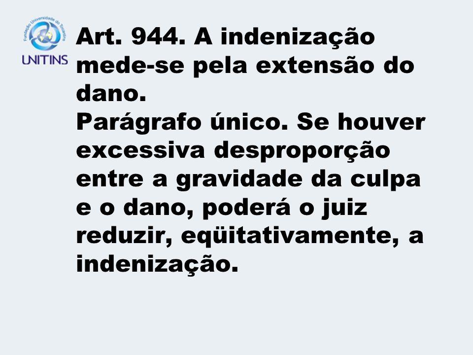 Art. 944. A indenização mede-se pela extensão do dano. Parágrafo único