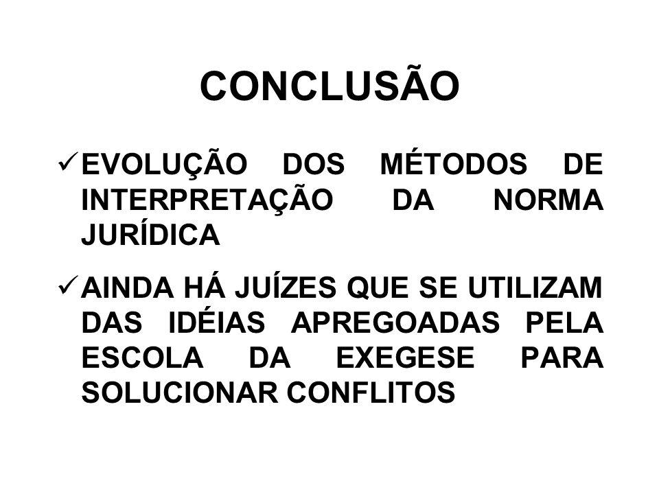 CONCLUSÃO EVOLUÇÃO DOS MÉTODOS DE INTERPRETAÇÃO DA NORMA JURÍDICA