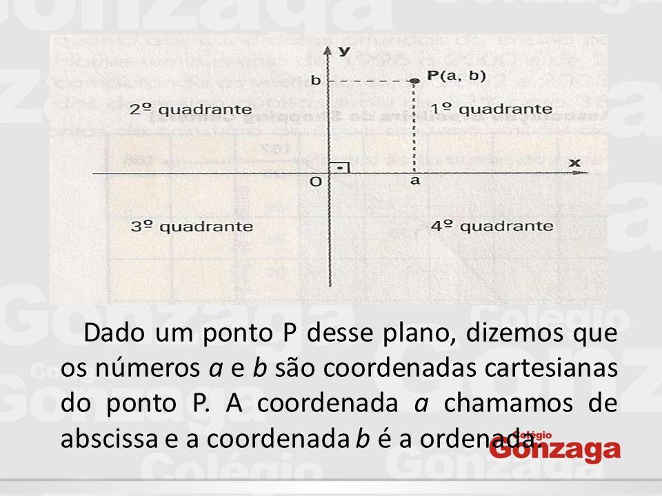 Dado um ponto P desse plano, dizemos que os números a e b são coordenadas cartesianas do ponto P.