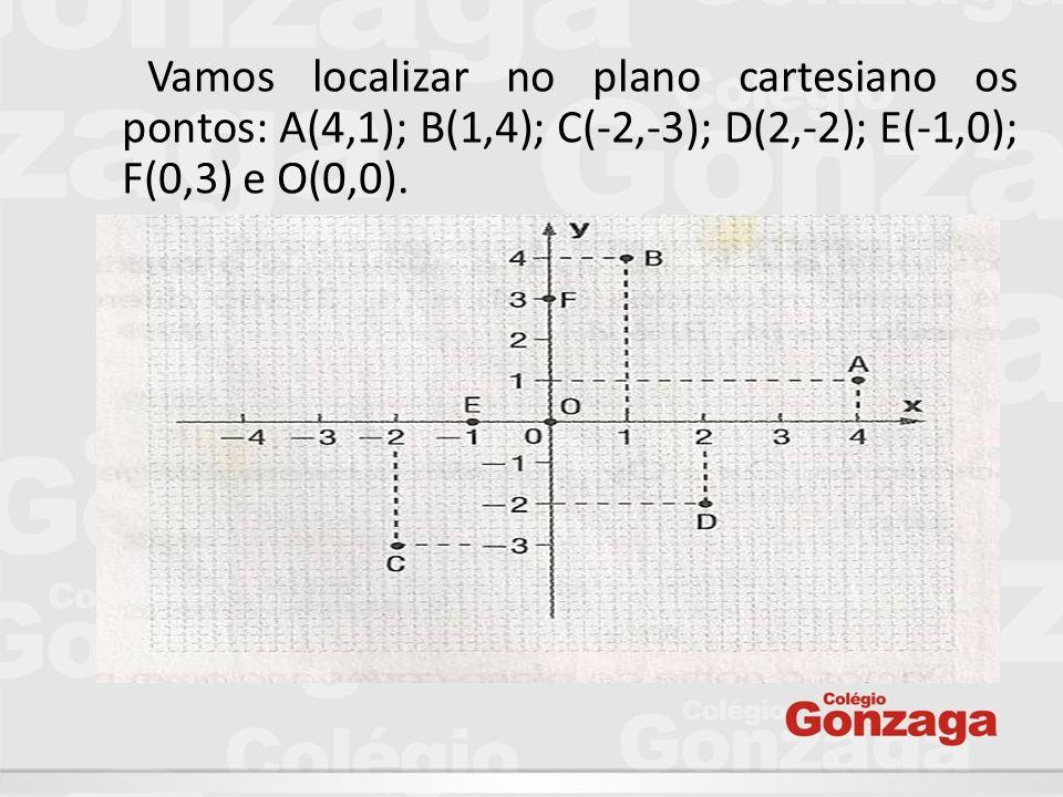 Vamos localizar no plano cartesiano os pontos: A(4,1); B(1,4); C(-2,-3); D(2,-2); E(-1,0); F(0,3) e O(0,0).