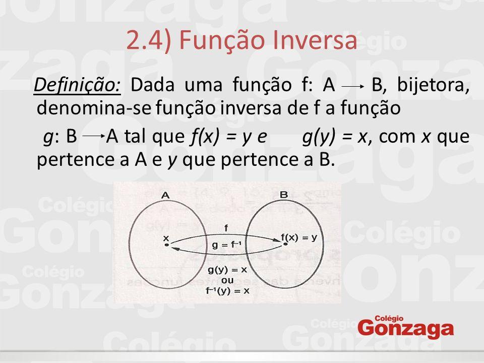 2.4) Função Inversa Definição: Dada uma função f: A B, bijetora, denomina-se função inversa de f a função.