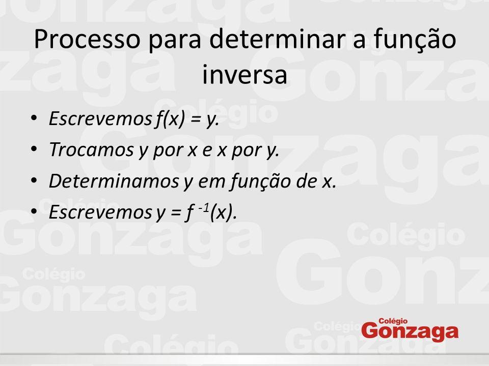 Processo para determinar a função inversa