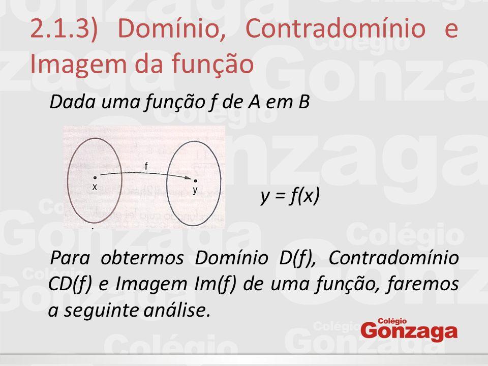 2.1.3) Domínio, Contradomínio e Imagem da função