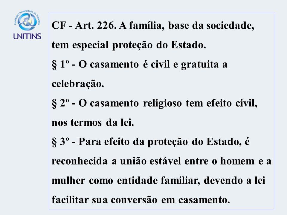CF - Art. 226. A família, base da sociedade, tem especial proteção do Estado.