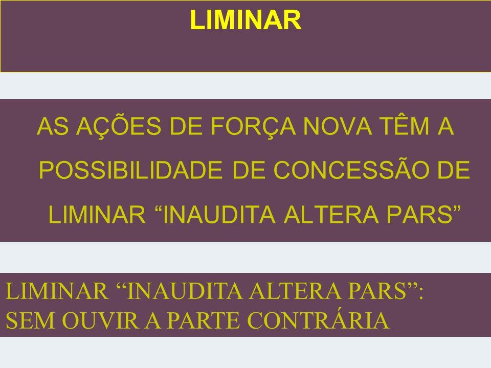 LIMINAR AS AÇÕES DE FORÇA NOVA TÊM A POSSIBILIDADE DE CONCESSÃO DE LIMINAR INAUDITA ALTERA PARS LIMINAR INAUDITA ALTERA PARS :