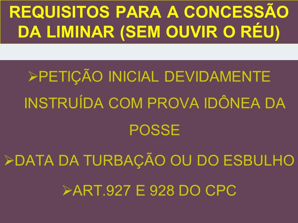 REQUISITOS PARA A CONCESSÃO DA LIMINAR (SEM OUVIR O RÉU)