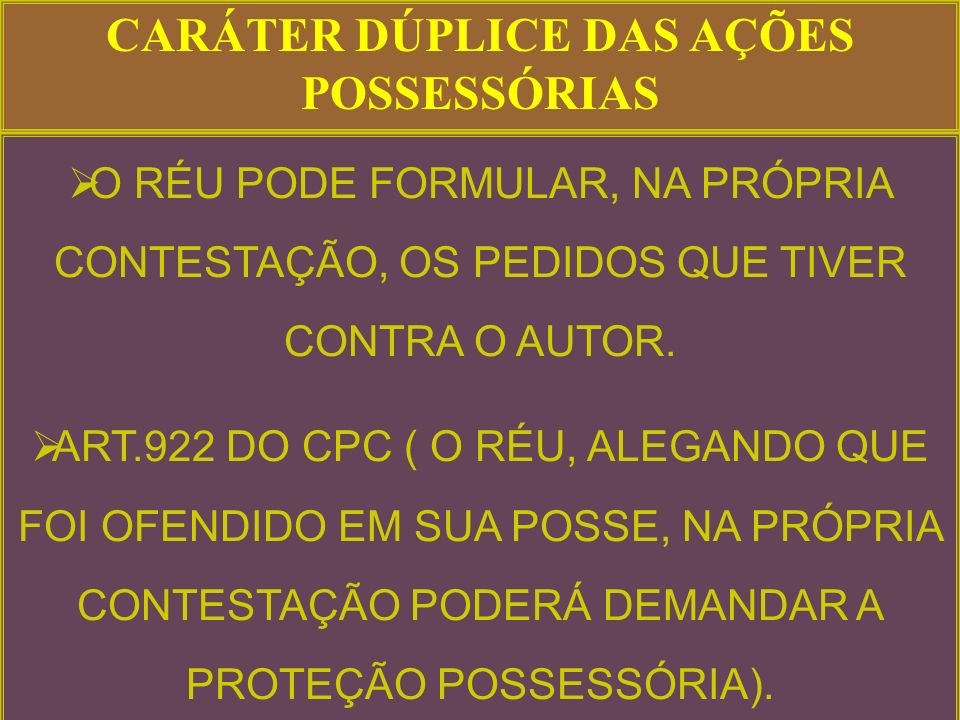 CARÁTER DÚPLICE DAS AÇÕES POSSESSÓRIAS