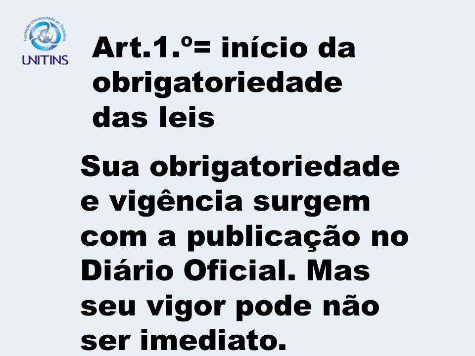 Art.1.º= início da obrigatoriedade das leis