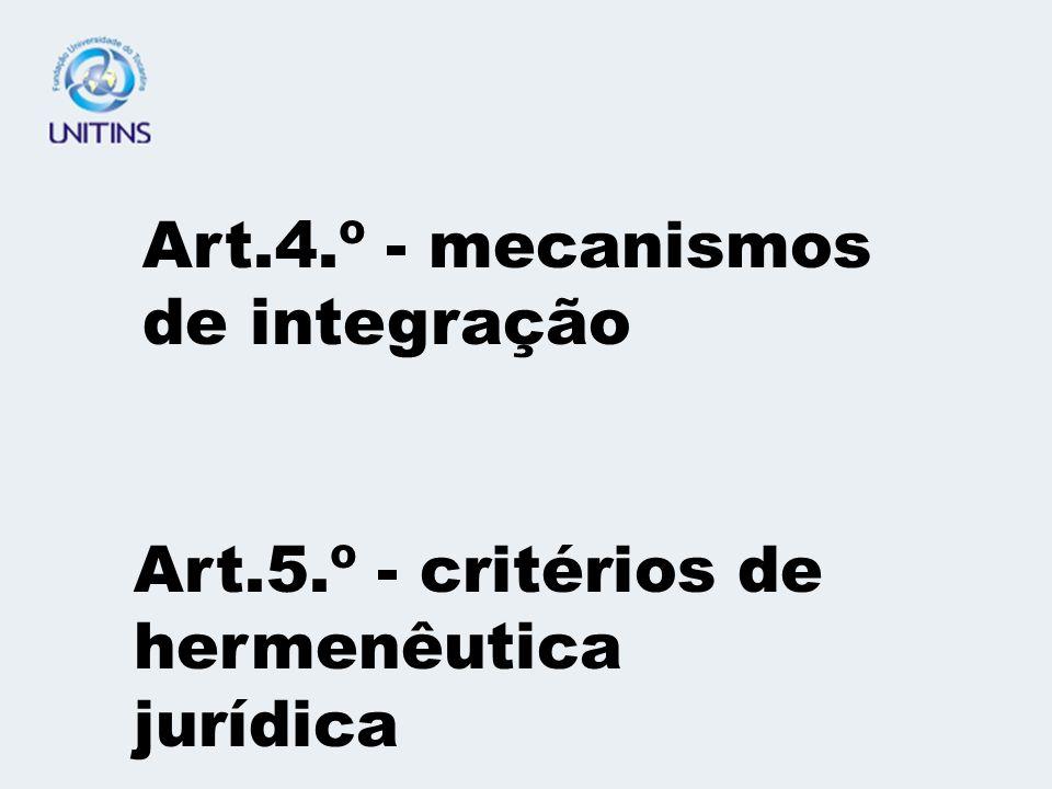 Art.4.º - mecanismos de integração Art.5.º - critérios de hermenêutica jurídica