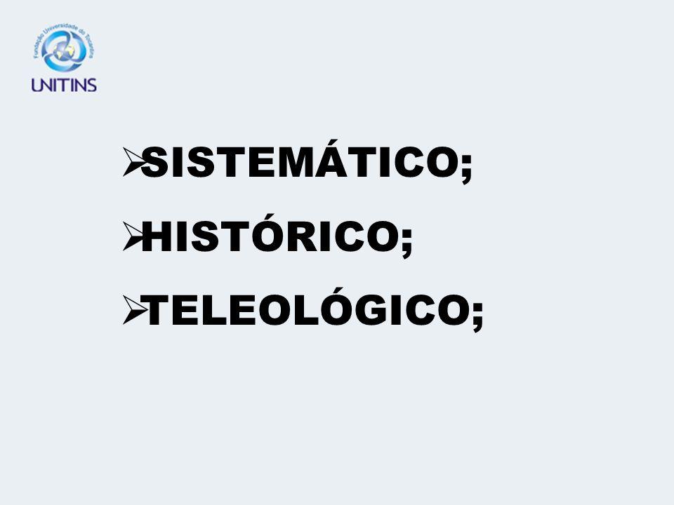 SISTEMÁTICO; HISTÓRICO; TELEOLÓGICO;