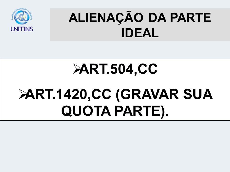 ALIENAÇÃO DA PARTE IDEAL ART.1420,CC (GRAVAR SUA QUOTA PARTE).