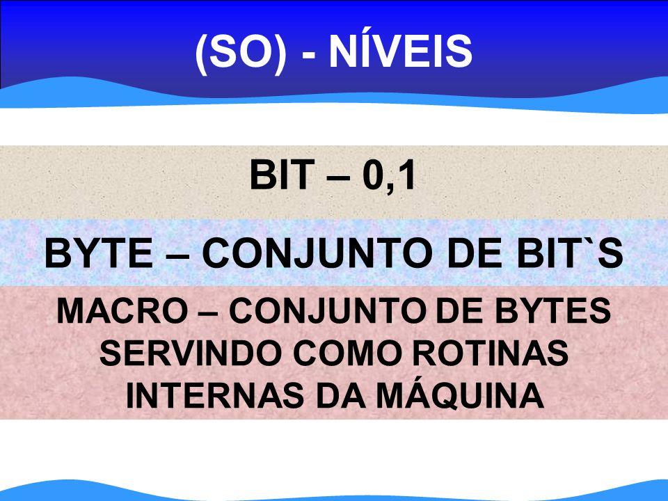 (SO) - NÍVEIS BIT – 0,1 BYTE – CONJUNTO DE BIT`S