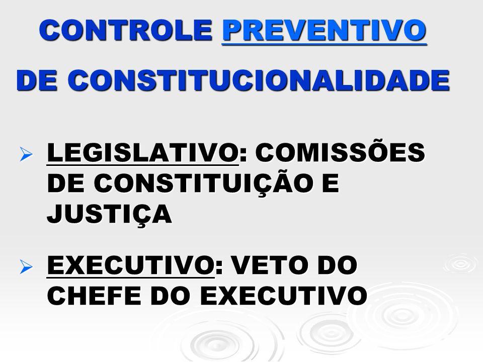 CONTROLE PREVENTIVO DE CONSTITUCIONALIDADE
