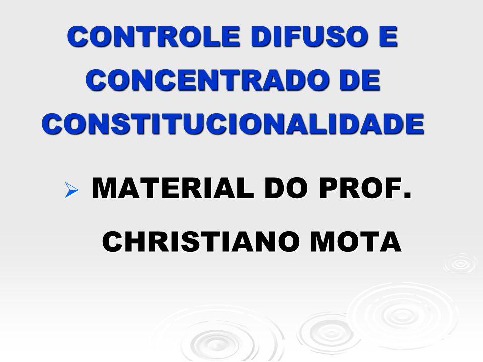 CONTROLE DIFUSO E CONCENTRADO DE CONSTITUCIONALIDADE