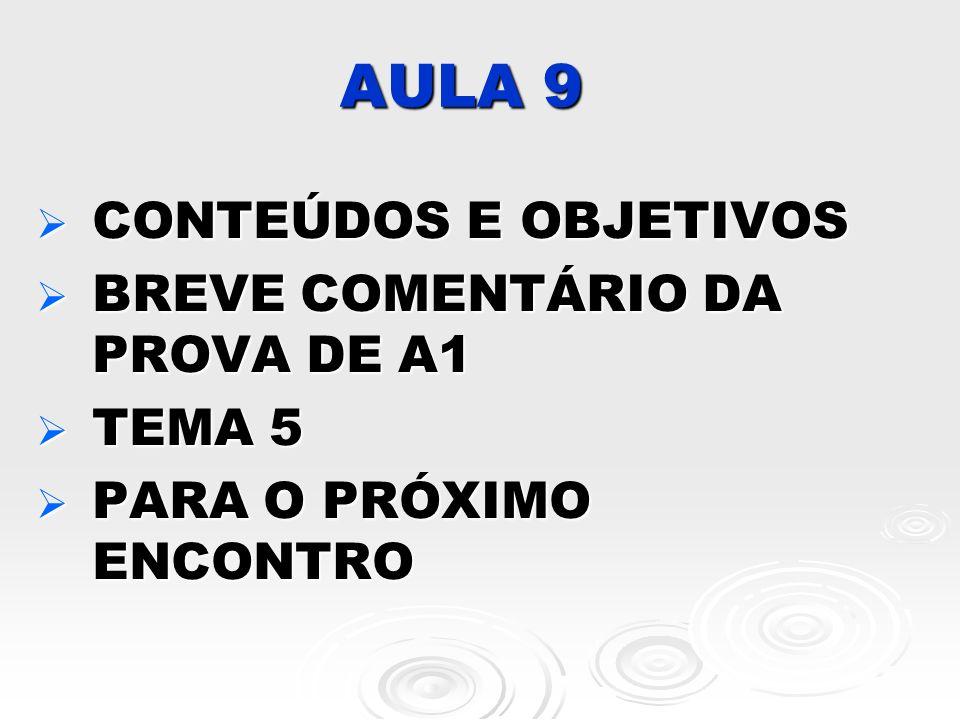 AULA 9 CONTEÚDOS E OBJETIVOS BREVE COMENTÁRIO DA PROVA DE A1 TEMA 5