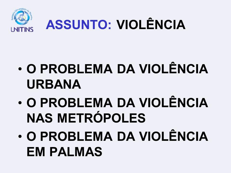 ASSUNTO: VIOLÊNCIAO PROBLEMA DA VIOLÊNCIA URBANA.O PROBLEMA DA VIOLÊNCIA NAS METRÓPOLES.