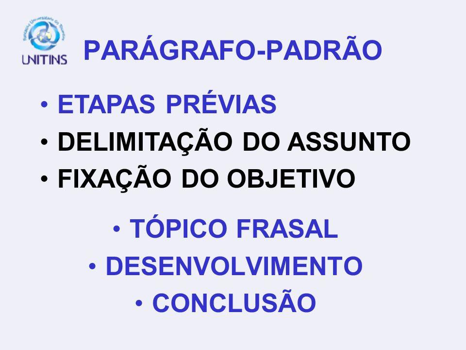 PARÁGRAFO-PADRÃO ETAPAS PRÉVIAS DELIMITAÇÃO DO ASSUNTO