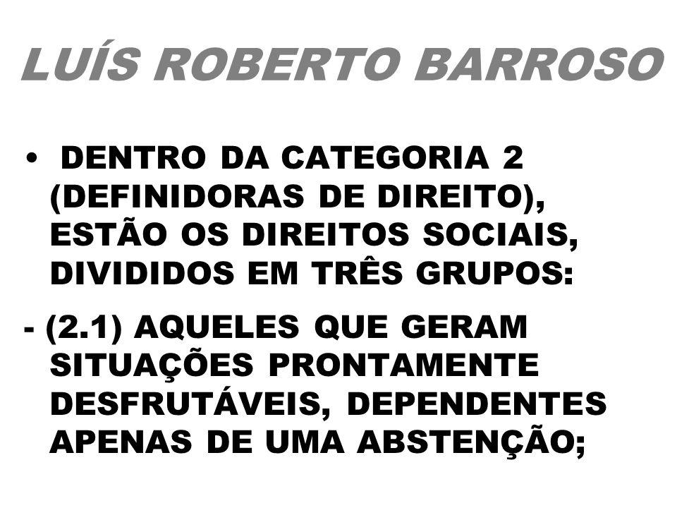 LUÍS ROBERTO BARROSODENTRO DA CATEGORIA 2 (DEFINIDORAS DE DIREITO), ESTÃO OS DIREITOS SOCIAIS, DIVIDIDOS EM TRÊS GRUPOS: