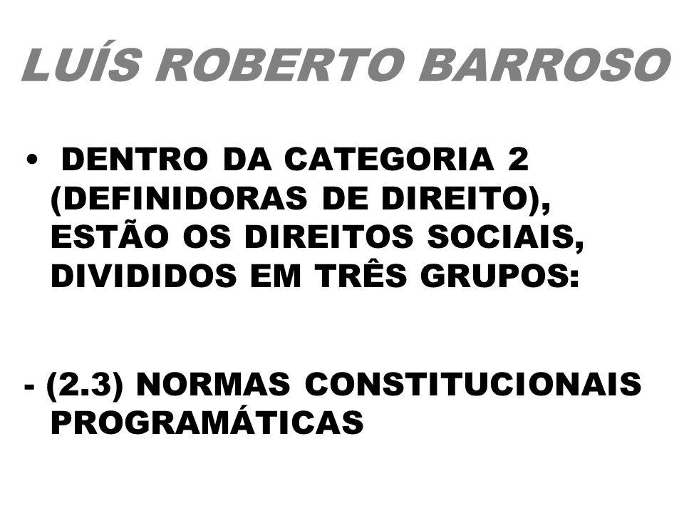 LUÍS ROBERTO BARROSO DENTRO DA CATEGORIA 2 (DEFINIDORAS DE DIREITO), ESTÃO OS DIREITOS SOCIAIS, DIVIDIDOS EM TRÊS GRUPOS: