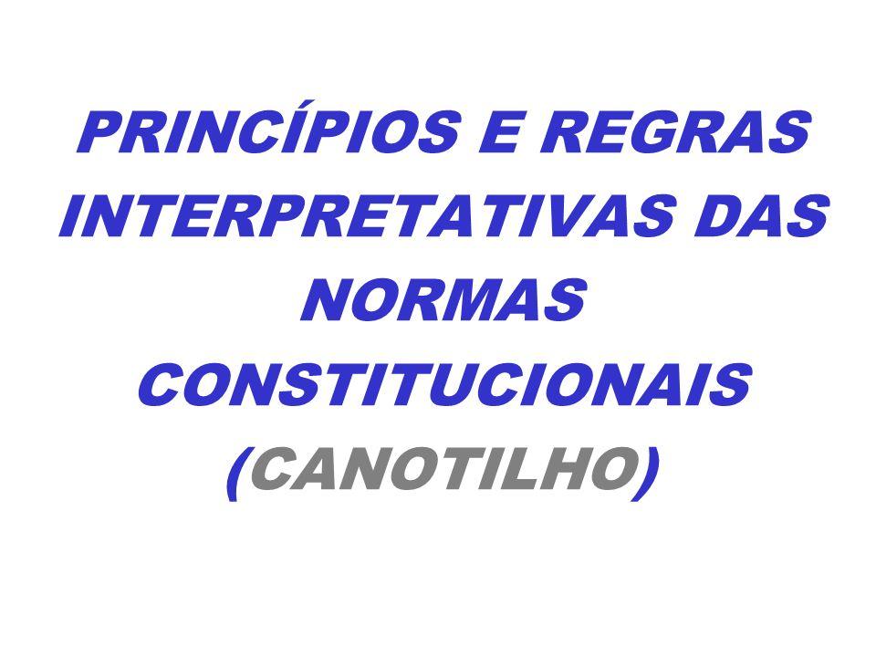 PRINCÍPIOS E REGRAS INTERPRETATIVAS DAS NORMAS CONSTITUCIONAIS (CANOTILHO)