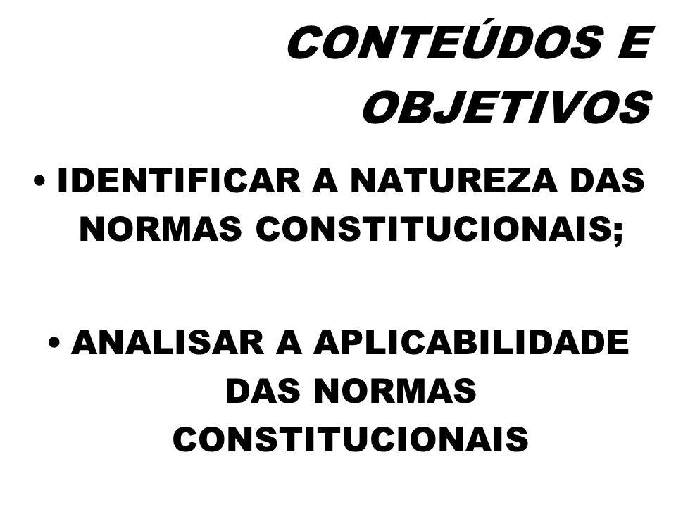 CONTEÚDOS E OBJETIVOSIDENTIFICAR A NATUREZA DAS NORMAS CONSTITUCIONAIS; ANALISAR A APLICABILIDADE DAS NORMAS CONSTITUCIONAIS.