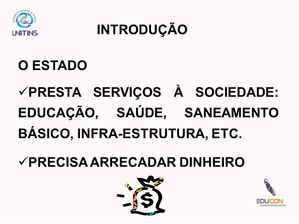 INTRODUÇÃOO ESTADO. PRESTA SERVIÇOS À SOCIEDADE: EDUCAÇÃO, SAÚDE, SANEAMENTO BÁSICO, INFRA-ESTRUTURA, ETC.