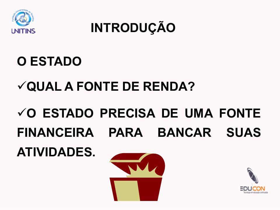 INTRODUÇÃO O ESTADO. QUAL A FONTE DE RENDA.