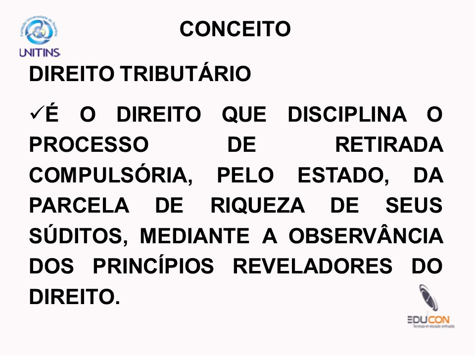 CONCEITO DIREITO TRIBUTÁRIO.