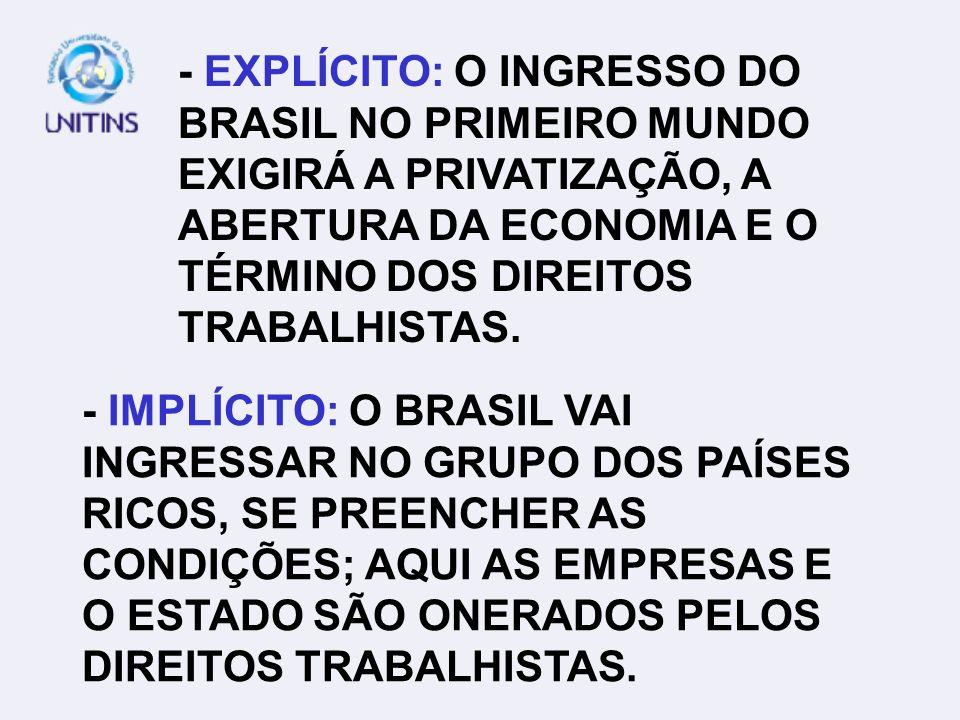 - EXPLÍCITO: O INGRESSO DO BRASIL NO PRIMEIRO MUNDO EXIGIRÁ A PRIVATIZAÇÃO, A ABERTURA DA ECONOMIA E O TÉRMINO DOS DIREITOS TRABALHISTAS.
