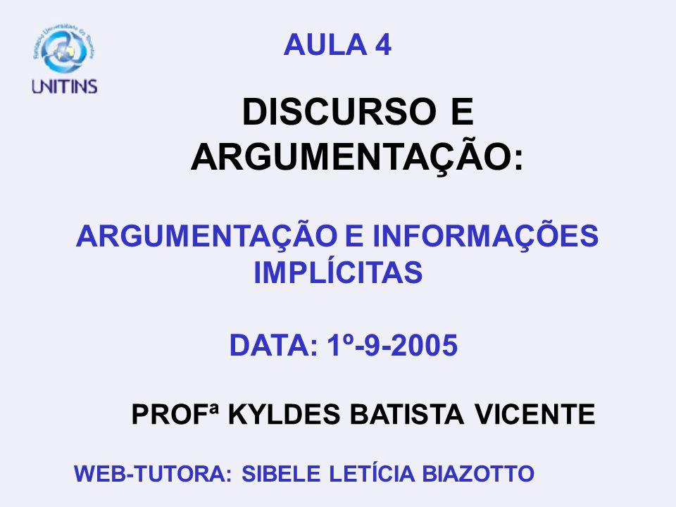 DISCURSO E ARGUMENTAÇÃO: