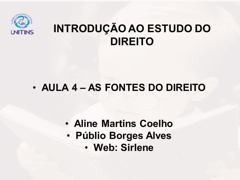 INTRODUÇÃO AO ESTUDO DO DIREITO AULA 4 – AS FONTES DO DIREITO