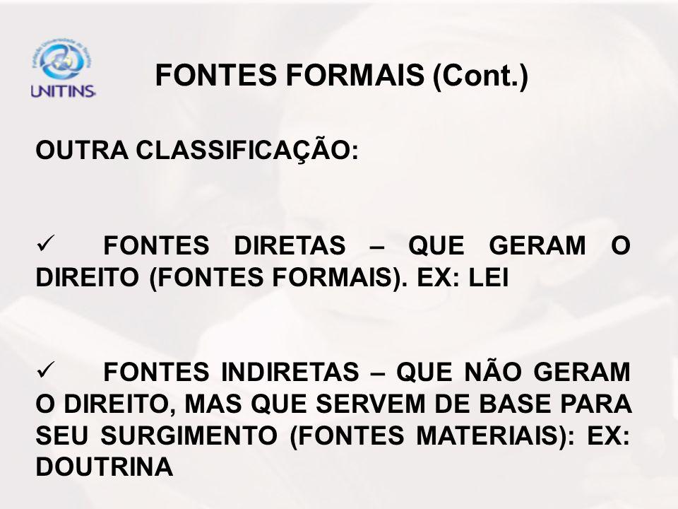 FONTES FORMAIS (Cont.) OUTRA CLASSIFICAÇÃO: