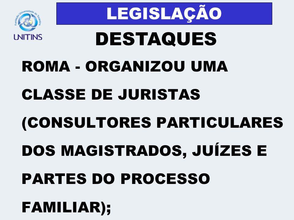 LEGISLAÇÃOROMA - ORGANIZOU UMA CLASSE DE JURISTAS (CONSULTORES PARTICULARES DOS MAGISTRADOS, JUÍZES E PARTES DO PROCESSO FAMILIAR);