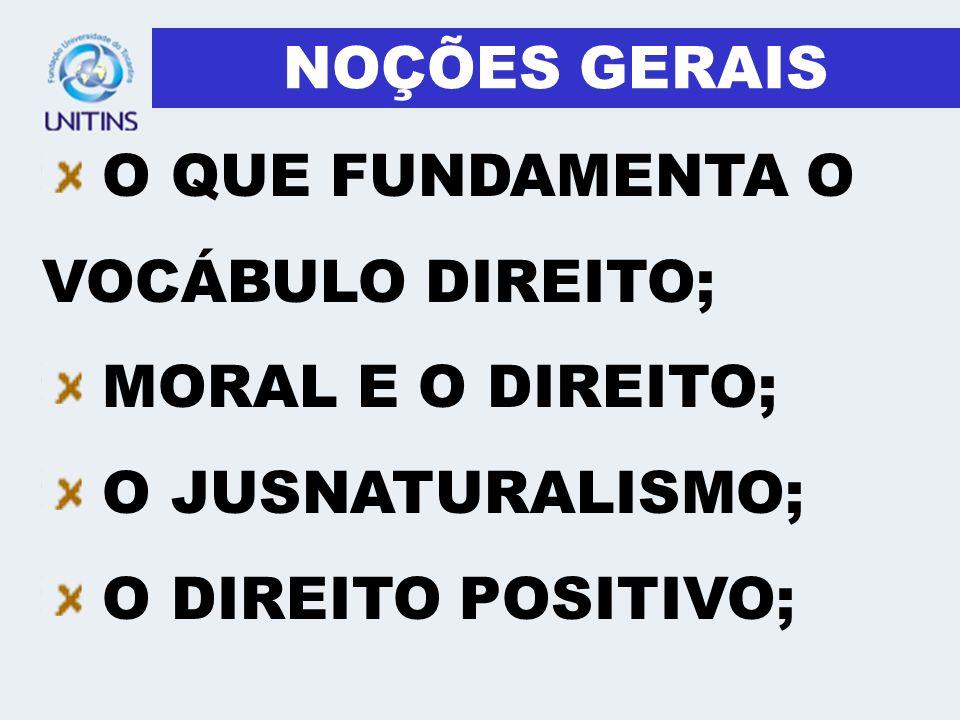 NOÇÕES GERAISO QUE FUNDAMENTA O VOCÁBULO DIREITO; MORAL E O DIREITO; O JUSNATURALISMO;