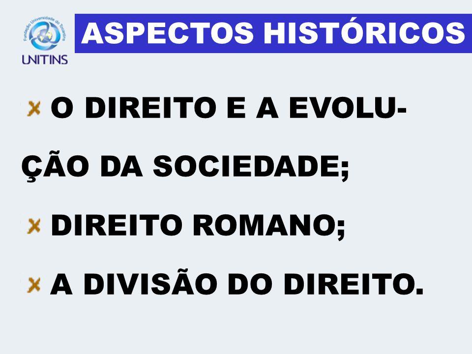 ASPECTOS HISTÓRICOS O DIREITO E A EVOLU-ÇÃO DA SOCIEDADE; DIREITO ROMANO; A DIVISÃO DO DIREITO.