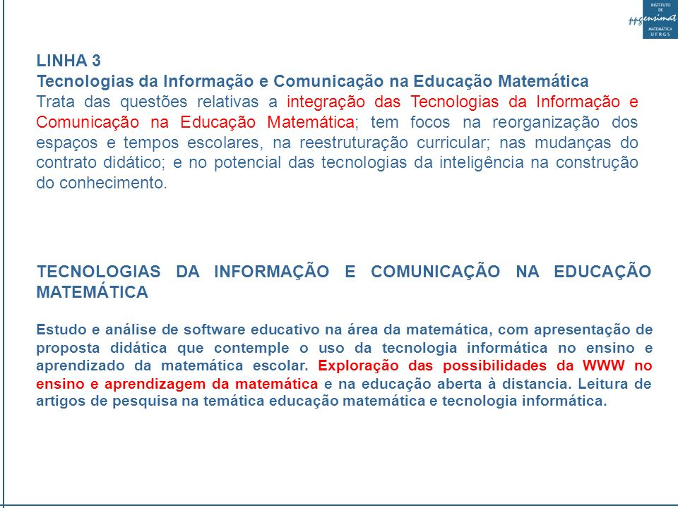 Tecnologias da Informação e Comunicação na Educação Matemática