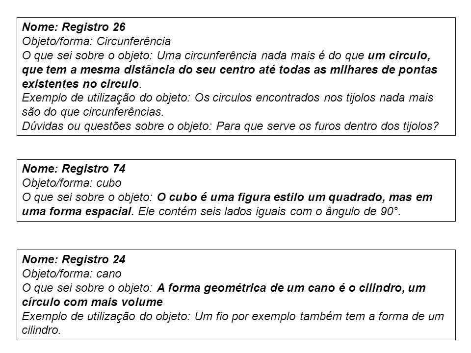 Nome: Registro 26 Objeto/forma: Circunferência.