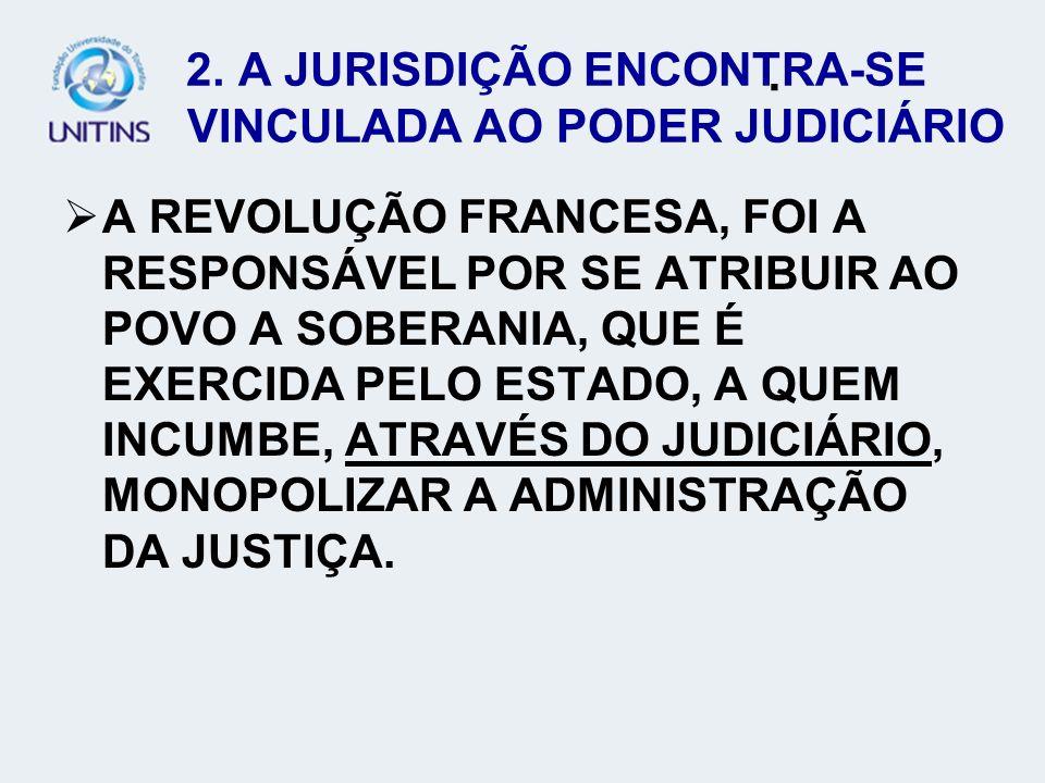 2. A JURISDIÇÃO ENCONTRA-SE VINCULADA AO PODER JUDICIÁRIO