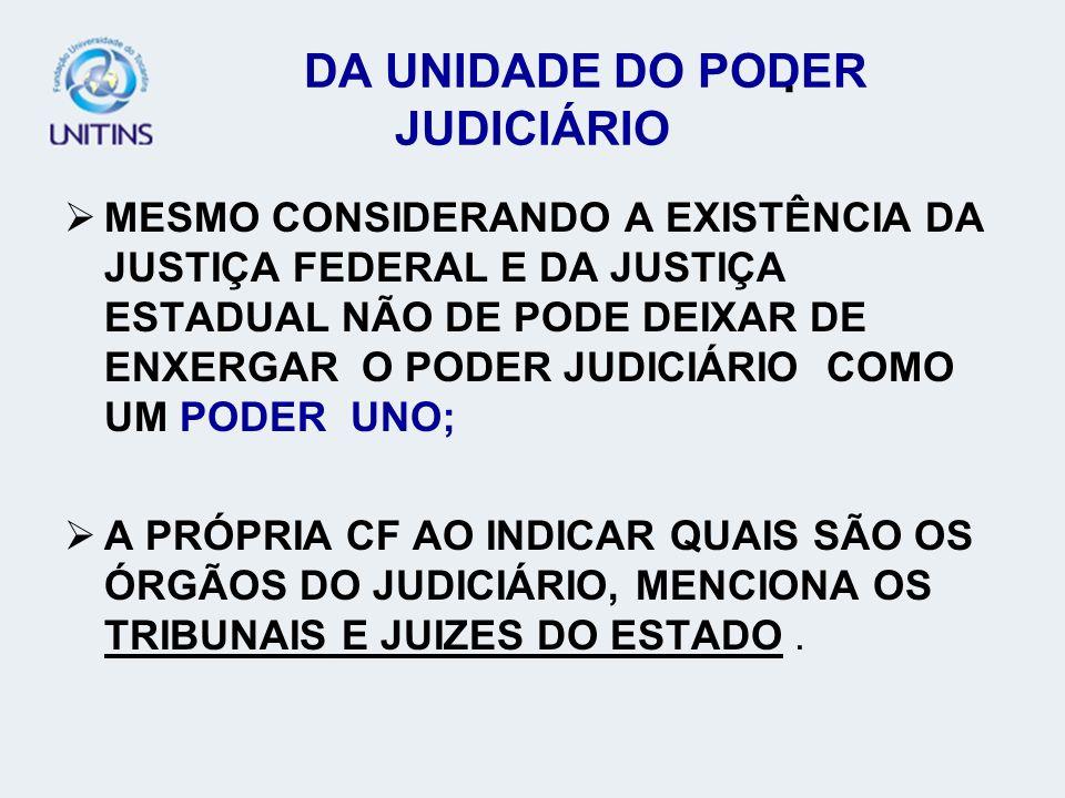 DA UNIDADE DO PODER JUDICIÁRIO