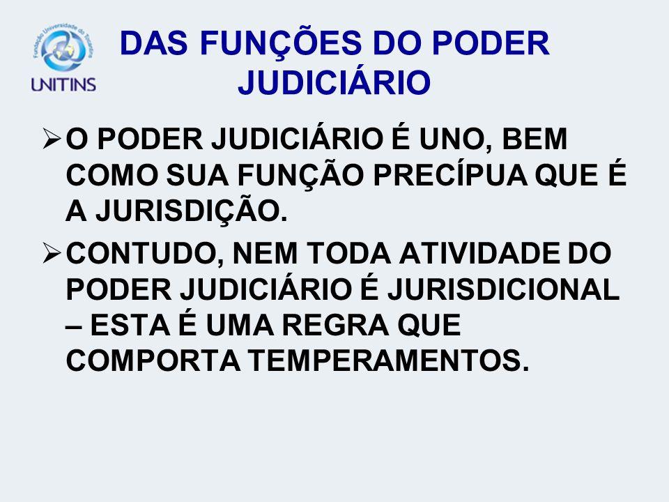 DAS FUNÇÕES DO PODER JUDICIÁRIO