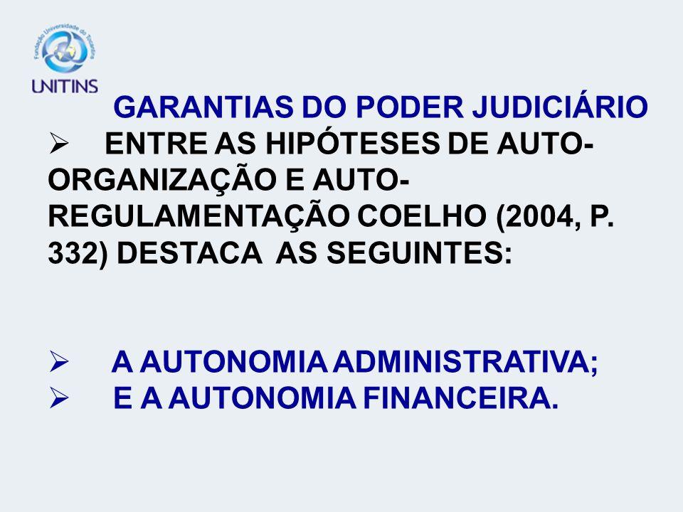 GARANTIAS DO PODER JUDICIÁRIO TEORIA GERAL DO PROCESSO - TGP