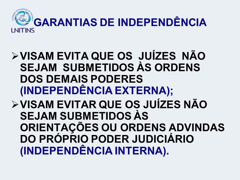 GARANTIAS DE INDEPENDÊNCIA