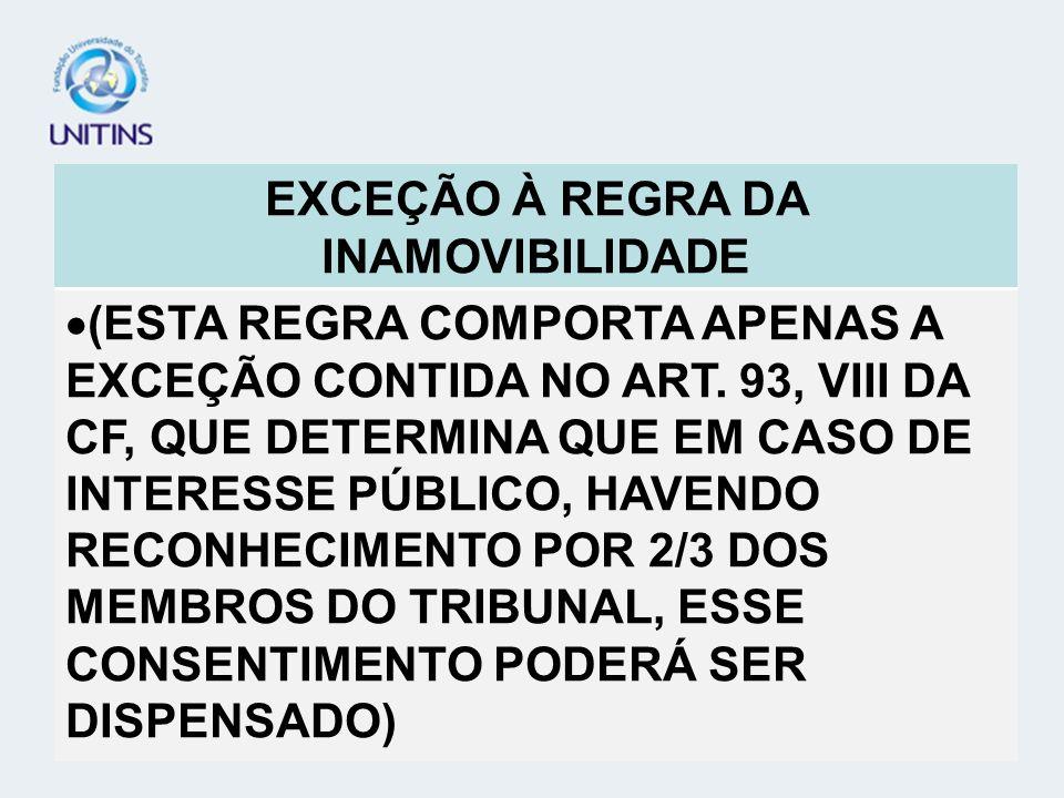 TEORIA GERAL DO PROCESSO - TGP EXCEÇÃO À REGRA DA INAMOVIBILIDADE
