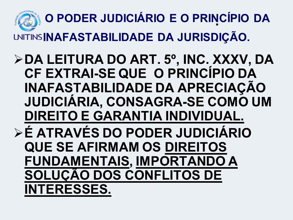 O PODER JUDICIÁRIO E O PRINCÍPIO DA INAFASTABILIDADE DA JURISDIÇÃO.