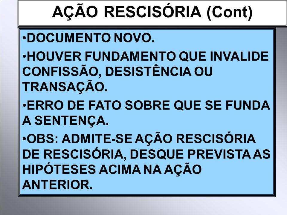 AÇÃO RESCISÓRIA (Cont)
