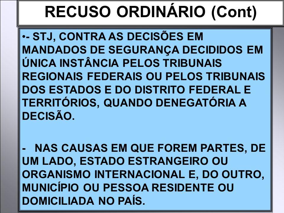 RECUSO ORDINÁRIO (Cont)