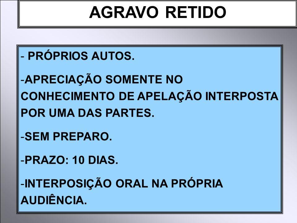 AGRAVO RETIDO PRÓPRIOS AUTOS.